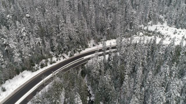 Black Car Traveling Snow Covered Forest Landscape Aerial video