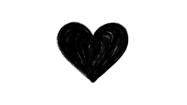 Black charcoal hand drawn heart, stop motion animation isolated on a white background