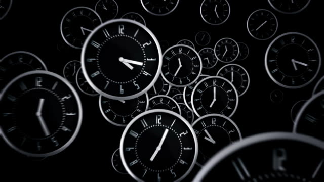 Black clocks flying. Loopable. Black clocks flying symbolizing the passing of time. Loopable. Each frame equals 1 minute.  Luma matte. Full HD. Animation created exclusively for iStockphoto. /Esqnegro2_ wall clock stock videos & royalty-free footage