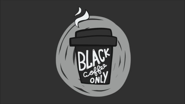 Black coffee only take away cup cartoon