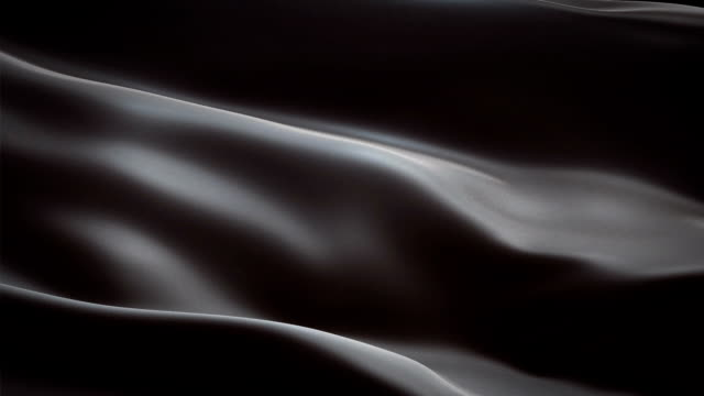 Black colored glossy fabric cloth textile satin background seamless loop waving animation video