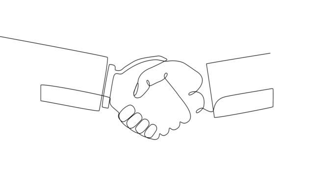 contorno icona continua nera della conclusione di un contratto su sfondo bianco. minimalismo, auto-animazione. arte di disegno di una linea alla moda. - illustrazione video stock e b–roll