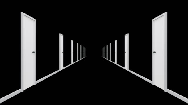 Black corridor with white door. Loop ready animation of endless hallway. eternity stock videos & royalty-free footage