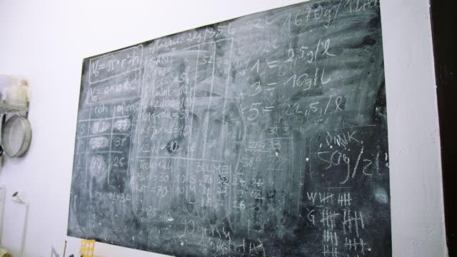 vídeos de stock e filmes b-roll de black dirty chalkboard at a pottery studio - berlin wall