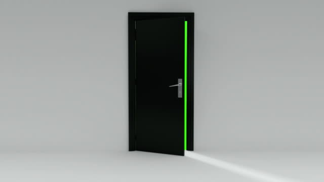 Black Door opening with Alpha Channel and green screen