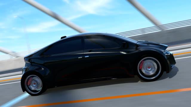 schwarzen elektro-sportwagen fahren auf der autobahn - drive illustration stock-videos und b-roll-filmmaterial