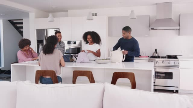 black family in their kitchen, unpacking groceries and putting them away togetherê - grocery home video stock e b–roll