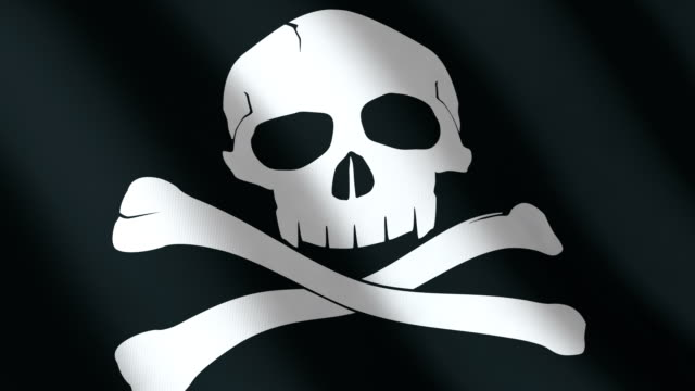 Black Flag with a skull. seamless loop. video