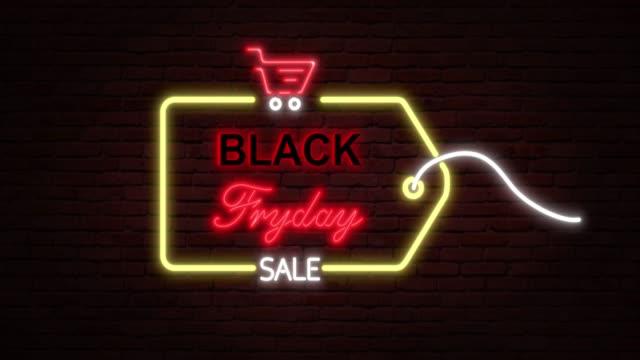 네온 사인블랙 프라이데이 광고. 반복 가능한 애니메이션 4k. 3d 렌더링 - black friday 스톡 비디오 및 b-롤 화면