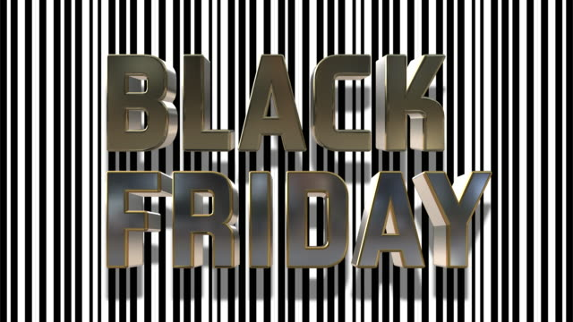 Black Friday And Cyber Monday 3D Looping Animation Black Friday And Cyber Monday Gold And Silver 3D Text Animation With Black And White Barcode Abstract Line Background - 4K Resolution Ultra HD cyber monday stock videos & royalty-free footage
