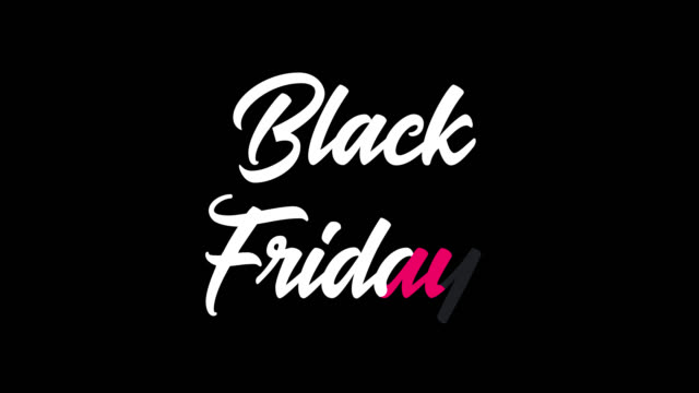 black friday animation – animated lettering with a ribbon for the best sale of the year on a transparent background in 4k. - black friday стоковые видео и кадры b-roll