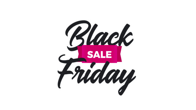 black friday animation – animated lettering with a ribbon for the best sale of the year on a transparent background in 4k. - banner internetowy filmów i materiałów b-roll