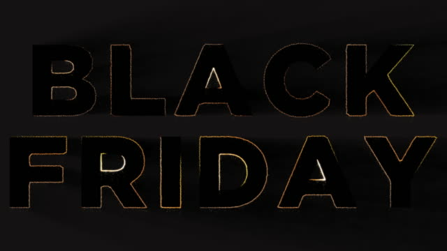 vídeos de stock e filmes b-roll de black friday animation with flickering lights and particles for social media - texto datilografado
