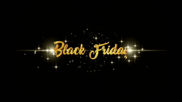 black friday beautiful golden greeting text appearance from blinking particles with golden fireworks background. - black friday стоковые видео и кадры b-roll