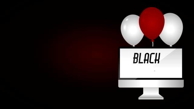 czarny piątek rozdaje etykietę z pulpitem i balonami helem - sprzęt sportowy filmów i materiałów b-roll