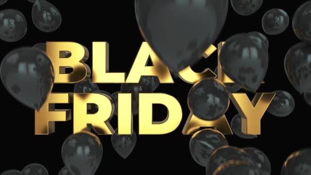 vídeos de stock e filmes b-roll de black friday gold text and black balloons 4k with luma matte - black friday