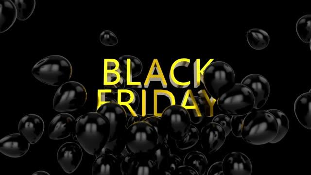 검은 색 풍선 검은 색과 검은 금요일 그래픽 - black friday 스톡 비디오 및 b-롤 화면