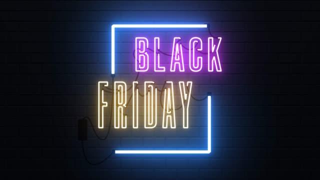 stockvideo's en b-roll-footage met zwarte vrijdag neon teken banner achtergrond - black friday shop