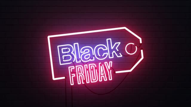 black friday neon sign banner background - black friday стоковые видео и кадры b-roll
