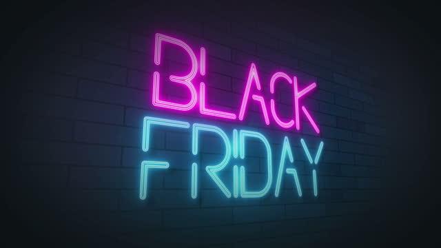 stockvideo's en b-roll-footage met black friday neon sign lights animation.4k video.wall achtergrond. - black friday shop