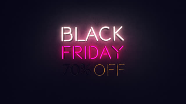 black friday neon text animation on black background - black friday стоковые видео и кадры b-roll
