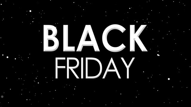 black friday sale banner animation of white particles on nebula sky. - black friday стоковые видео и кадры b-roll