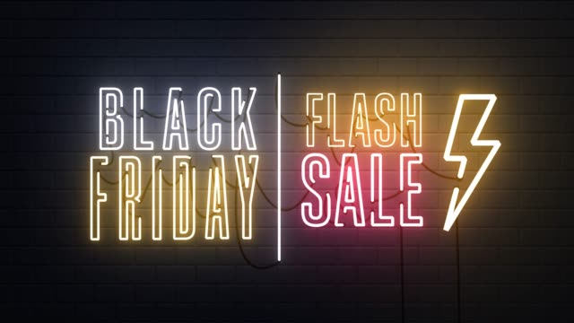 vidéos et rushes de black friday vente flash vente néon signe signe fond de bannière - black friday