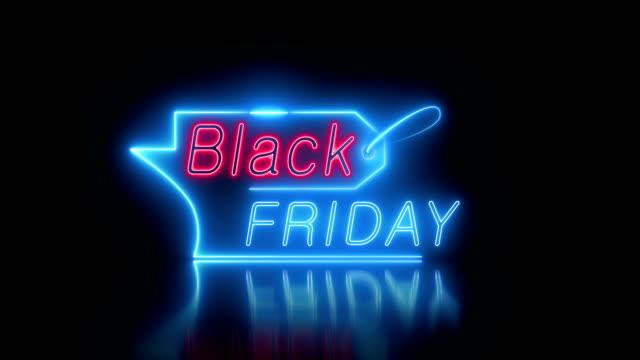 블랙 프라이데이 세일 네온 비디오 애니메이션 - black friday 스톡 비디오 및 b-롤 화면