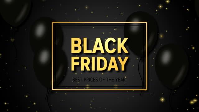 vídeos de stock e filmes b-roll de black friday sale on the black background with balloons - black friday
