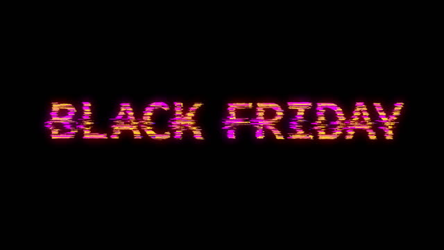 Black Friday text neon cyberpunk style animation