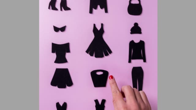 stockvideo's en b-roll-footage met zwarte vrijdag vrouw kleren en accessoires te koop advertentie voor de retail, e-commerce store, stop motion animatie - black friday shop