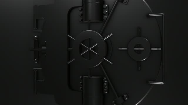Schwarz glänzend Bank Gewölbe Tür schließen/4 K – Video