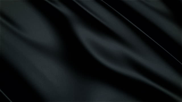 Black glossy cloth satin realistic seamless loop waving animation video