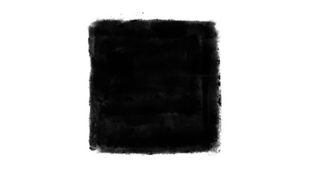 schwarz, grunge, animiertes quadrat auf weißem hintergrund - quadratisch zweidimensionale form stock-videos und b-roll-filmmaterial