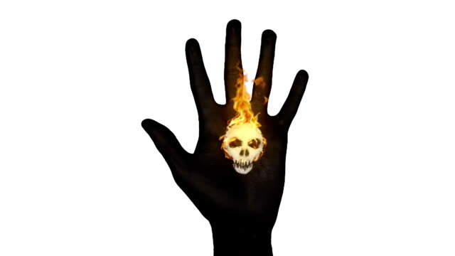 Black Hand With Flaming Skull video