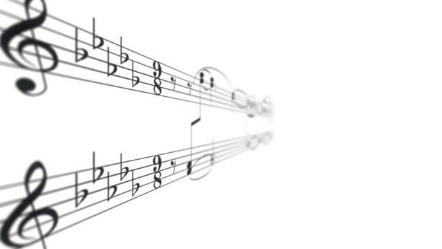 Black harmony music note composition with melody on a white background