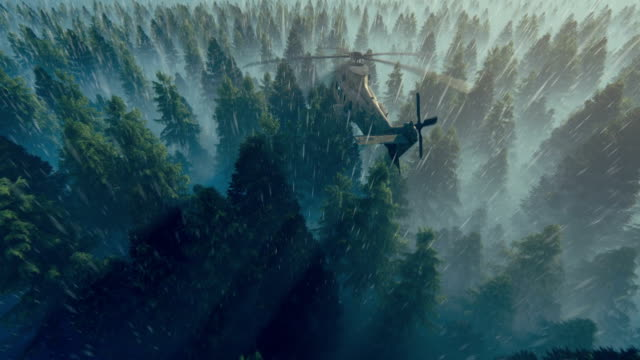 Black Hawk Helicopter flying over pine forest against heavy rain