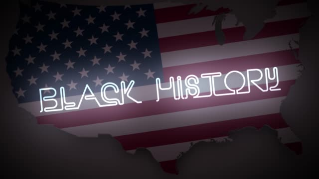 vídeos de stock e filmes b-roll de black history intro neon sign animated with the american flag and map in the background. - mês