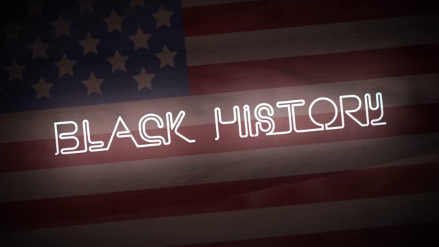 siyah tarih intro neon işareti arka planda amerikan bayrağı ve harita ile animasyonlu. - black history month stok videoları ve detay görüntü çekimi