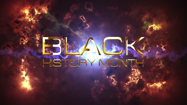 черная история месяц 3d кинематографический абстрактный фон. 4k 3d оказание бесшовные петли с золотым черным текстом месяц истории с драматич - black history month стоковые видео и кадры b-roll