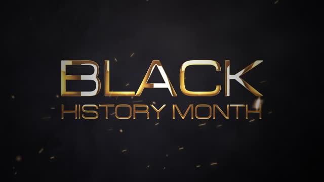 siyah tarih ay 3d sinematik soyut intro görüntüleri arka plan kavramı. 4k 3d altın siyah tarih ay altın metin ile optik mavi parlama patlama ışık açılış başlık römork için render. - black history month stok videoları ve detay görüntü çekimi