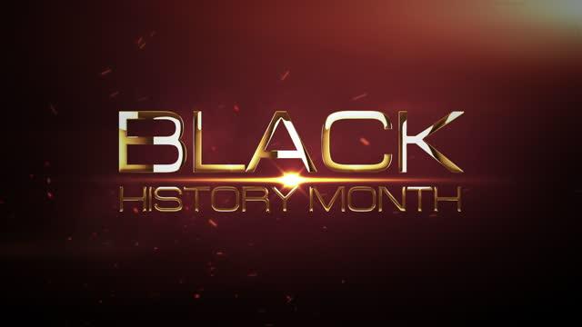 siyah tarih ay 3d sinematik soyut başlık intro görüntüleri arka plan kavramı. açılış fragmanı için dramatik patlama ışık ve bulut ile altın siyah tarih ay metin ile 4k 3d render. - black history month stok videoları ve detay görüntü çekimi