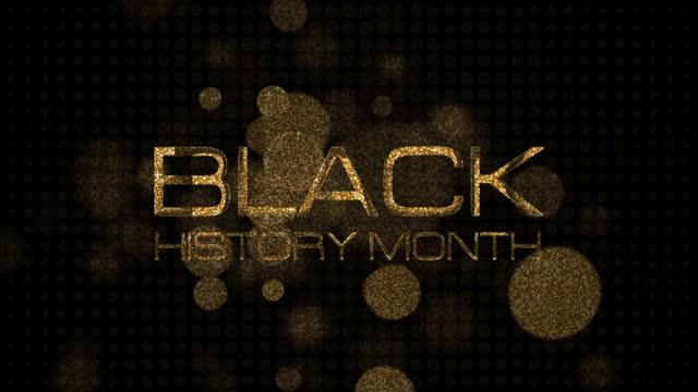 siyah tarih ay 3d sinematik başlık fragman animasyon açılış intro metin mesajı. altın glitter bokeh etkisi başlık intro arka plan kavramı ile 4k 3d illüstrasyon siyah tarih ay altın metin. - black history month stok videoları ve detay görüntü çekimi