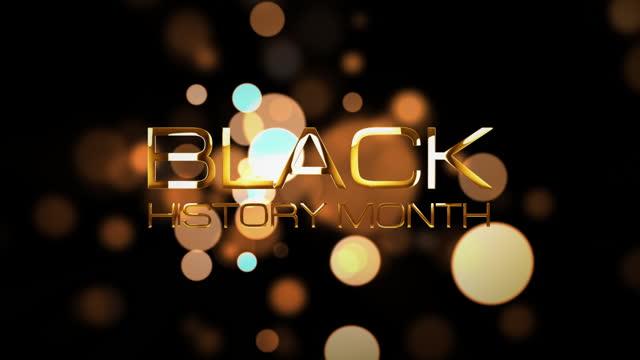 черная история месяц 3d кинематографический название трейлер анимации открытия интро текстовое сообщение. 4k 3d иллюстрация черная история м - black history month стоковые видео и кадры b-roll