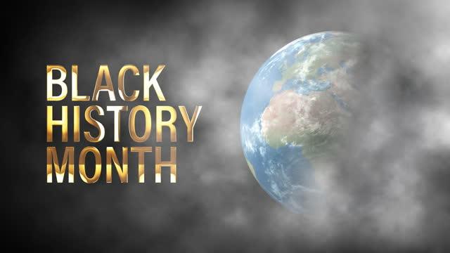 черная история месяц 3d кинематографический название трейлер анимации с дымовой пылью и мир вращается на черном фоне с черной истории месяц - black history month стоковые видео и кадры b-roll