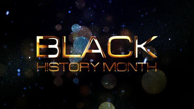 siyah tarih ay 3d altın metin animasyon siyah arka plan üzerinde pırıl pırıl parçacıklar bokeh ile. black history mont açılış başlık römork intro metin animasyon için 4k 3d render sorunsuz döngü. - black history month stok videoları ve detay görüntü çekimi