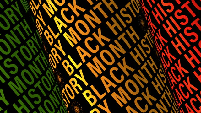 vídeos y material grabado en eventos de stock de black history month 3d tube text rotating on black background. 4k 3d renderización de texto cilindro cinético bucle sin costuras para black history mont apertura título de título de fondo de pantalla de fondo de pantalla introducción de texto. - black history month