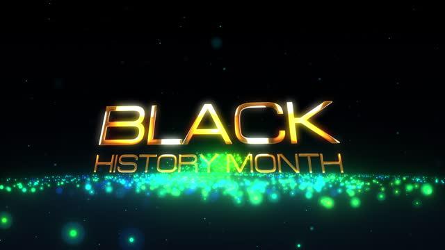 4k 3d черная история месяц золотой текст с красочными сверкающими магическими частицами фоновой концепции. черная история месяц magic light кинем - black history month стоковые видео и кадры b-roll