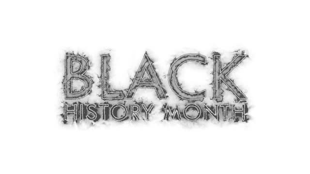 текст месяца черной истории на черно-белом фоне. 4k текст кинетической бесшовные петли для черной истории mont открытия название прицепа обои  - black history month стоковые видео и кадры b-roll
