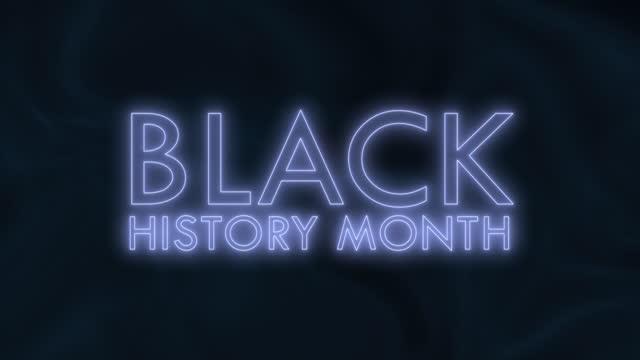 siyah ve beyaz arka plan üzerine siyah tarih ay metni. black history mont açılış başlık römork duvar kağıdı intro metin animasyon için 4k metin kinetik sorunsuz döngü. stok video - black history month stok videoları ve detay görüntü çekimi
